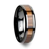 Zebrano Black Ceramic Wedding Band with Zebra Wood Inlay