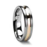 Zeus Flat Brushed Tungsten Wedding Band with Rose Gold Plated Groove