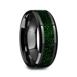 Giovanni Black Ceramic Men's Wedding Band with Green Goldstone Inlay