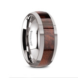 Grove Domed Tungsten Men's Wedding Band with Redwood Inlay