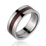 Flat Men's Titanium Wedding Band with Hawaiian Koa Wood Inlay