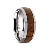 Juglan Tungsten Carbide Men's Domed Wedding Band with Exotic Black Walnut Wood Inlay
