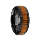 Linden Domed Black Ceramic Men's Wedding Band with Koa Wood Inlay