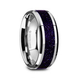 Maki Tungsten Men's Wedding Band with Purple Goldstone Inlay