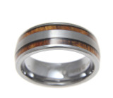 Domed Men's Tungsten Wedding Band with Hawaiian Koa Wood Inlay