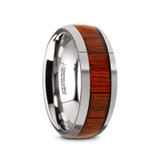 Mukwa Tungsten Carbide Men's Domed Wedding Band with Padauk Wood Inlay