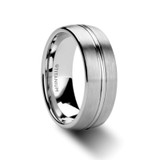Arbiter Brushed Titanium Men's Wedding Band with Grooved Center