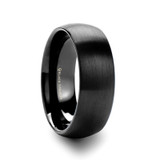 Marauder Domed Brushed Black Titanium Men's Wedding Band