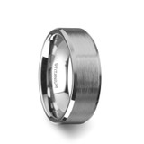 Shire Brushed Center Titanium Men's Flat Wedding Band