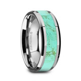 Pierre Tungsten Men's Wedding Band with Turquoise Stone Inlay