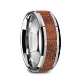 Bodhi Tungsten Men's Wedding Band with Orange Goldstone Inlay