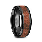 Bolin Black Ceramic Men's Wedding Band with Orange Goldstone Inlay