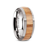 Kydenor Domed Tungsten Carbide Men's Wedding Band with Red Oak Wood Inlay