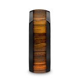 Zerra Domed Black Ceramic Men's Wedding Band with Zebra Wood Inlay