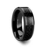 Oxyn Black Titanium Men's Wedding Band with Black Carbon Fiber Inlay