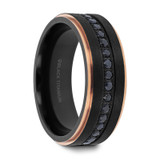 Astro Men's Wedding Band with Rose Gold Interior and Black Sapphires