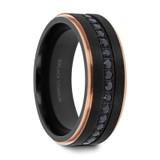 Astro Black Titanium Men's Ring with Rose Gold Plated Edges & Black Sapphires