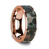 Men's 14k Rose Gold Wedding Band with Coprolite Inlay