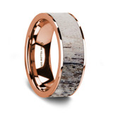Men's 14k Rose Gold Wedding Band with Deer Antler Inlay