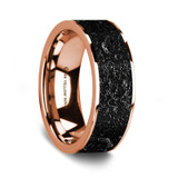 Men's 14k Rose Gold Wedding Band with Lava Rock Inlay