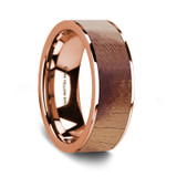 Men's 14k Rose Gold Wedding Band with Olive Wood Inlay