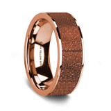 Men's 14k Rose Gold Wedding Band with Orange Goldstone Inlay