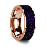 Men's 14k Rose Gold Wedding Band with Purple Goldstone Inlay