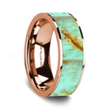 Men's 14k Rose Gold Wedding Band with Turquoise Stone Inlay
