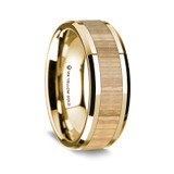 Men's 14k Yellow Gold Wedding Band with Ash Wood Inlay