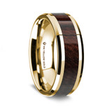 Men's 14k Yellow Gold Wedding Band with Bubinga Wood Inlay