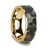 Men's 14k Yellow Gold Wedding Band with Coprolite Inlay