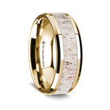 Men's 14k Yellow Gold Wedding Band with Deer Antler Inlay