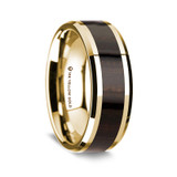 Men's 14k Yellow Gold Wedding Band with Ebony Wood Inlay