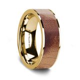 Men's 14k Yellow Gold Wedding Band with Olive Wood Inlay