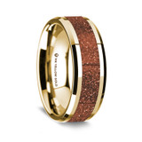 Men's 14k Yellow Gold Wedding Band with Orange Goldstone Inlay