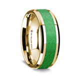 Men's 14k Yellow Gold Wedding Band with Sparkling Green Inlay