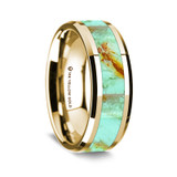 Men's 14k Yellow Gold Wedding Band with Turquoise Stone Inlay