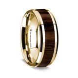 Men's 14k Yellow Gold Wedding Band with Walnut Wood Inlay