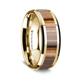 Men's 14k Yellow Gold Wedding Band with Zebra Wood Inlay