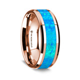 Men's Rose Gold Wedding Band with Blue Opal Inlay