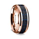 Men's Rose Gold Wedding Band with Carbon Fiber Inlay