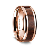 Men's Rose Gold Wedding Band with Carpathian Wood Inlay