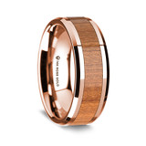 Men's Rose Gold Wedding Band with Cherry Wood Inlay