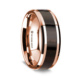 Men's Rose Gold Wedding Band with Ebony Wood Inlay