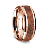 Men's Rose Gold Wedding Band with Orange Goldstone Inlay