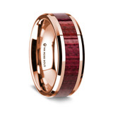 Men's Rose Gold Wedding Band with Purpleheart Wood Inlay