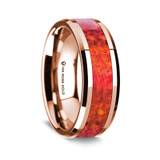 Men's Rose Gold Wedding Band with Red Opal Inlay