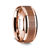 Men's Rose Gold Wedding Band with Sapele Wood Inlay