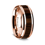 Men's Rose Gold Wedding Band with Walnut Wood Inlay
