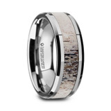 Men's Titanium Wedding Band with Deer Antler Inlay